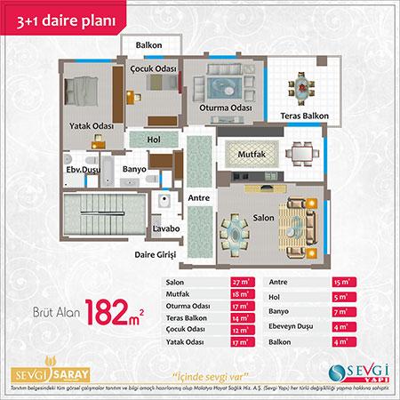 Sevgi Saray 3+1 Kat Planı