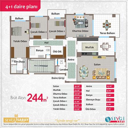 Sevgi Saray 4+1 Kat Planı